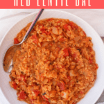 This vegan Instant Pot Dal with Red Lentils is an easy and delicious spiced red lentil dish. It can be served alone as a soup, or as a side dish along with rice.