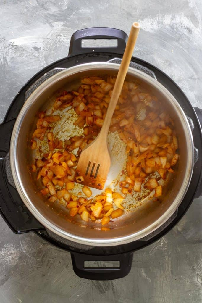saute the onions and spices for instant pot dal