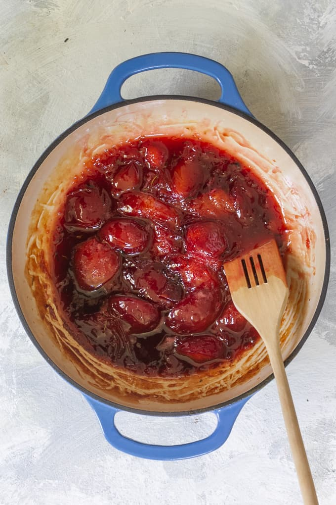 Plum sauce will thicken + darken