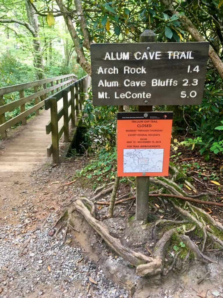 Alum Cave Trail Sign