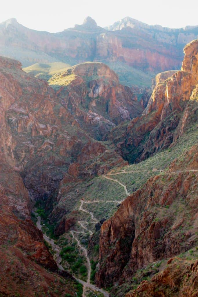 The Bright Angel Trail Weaving Into the Canyon