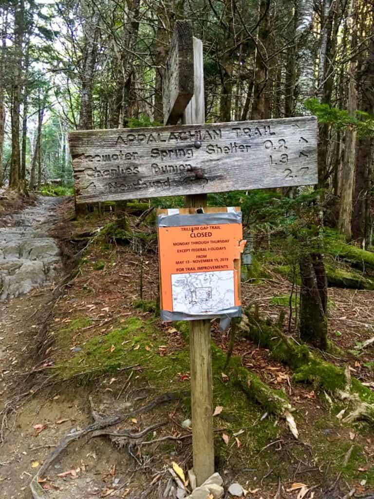 Appalachian Trail Sign for Charlies Bunion