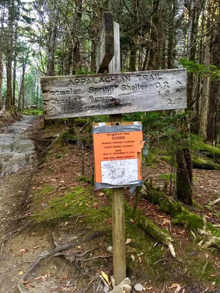 Appalachian Trail Sign for Charlies Bunion