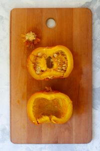 Cut the Pumpkin in Half + Remove Seeds