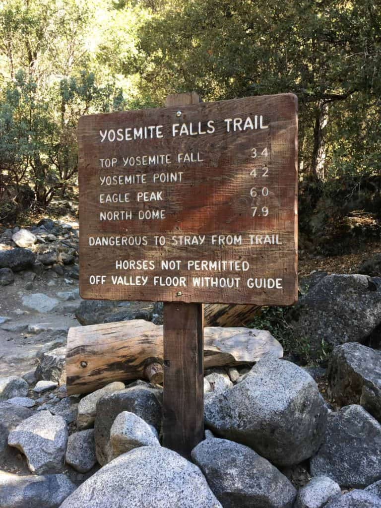 Yosemite Falls Trailhead Sign