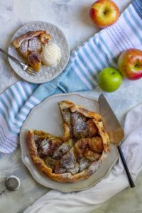 apple galette on a serving plate