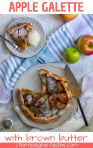 Love apple pie? This gorgeous apple galette is made spiced brown butter, and is an easy and delicious make-ahead dessert.