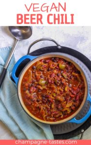 This spicy vegan beer chili is made with beans, peppers, tomatoes, and (of course) beer. It's an easy cold-weather stew that's perfect for Game Day!