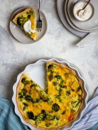 Broccoli Quiche with Yogurt Sauce
