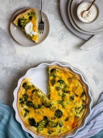 Broccoli Quiche with Yogurt Sauce