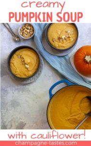 This creamy pumpkin soup is a delicious fall soup made with pumpkin purée (homemade or canned), cauliflower, milk, and cheese.