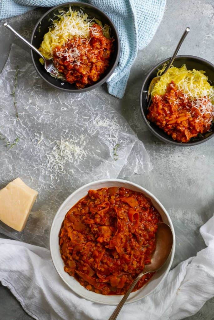 lentil bolognese served with spaghetti squash