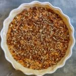 Top Pumpkin Pie Batter with Chopped Pecans