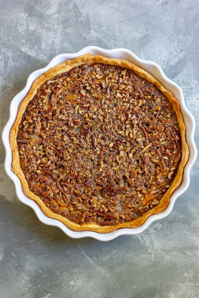 Bake Pumpkin Pecan Pie Until Filling is Set + Crust is Golden