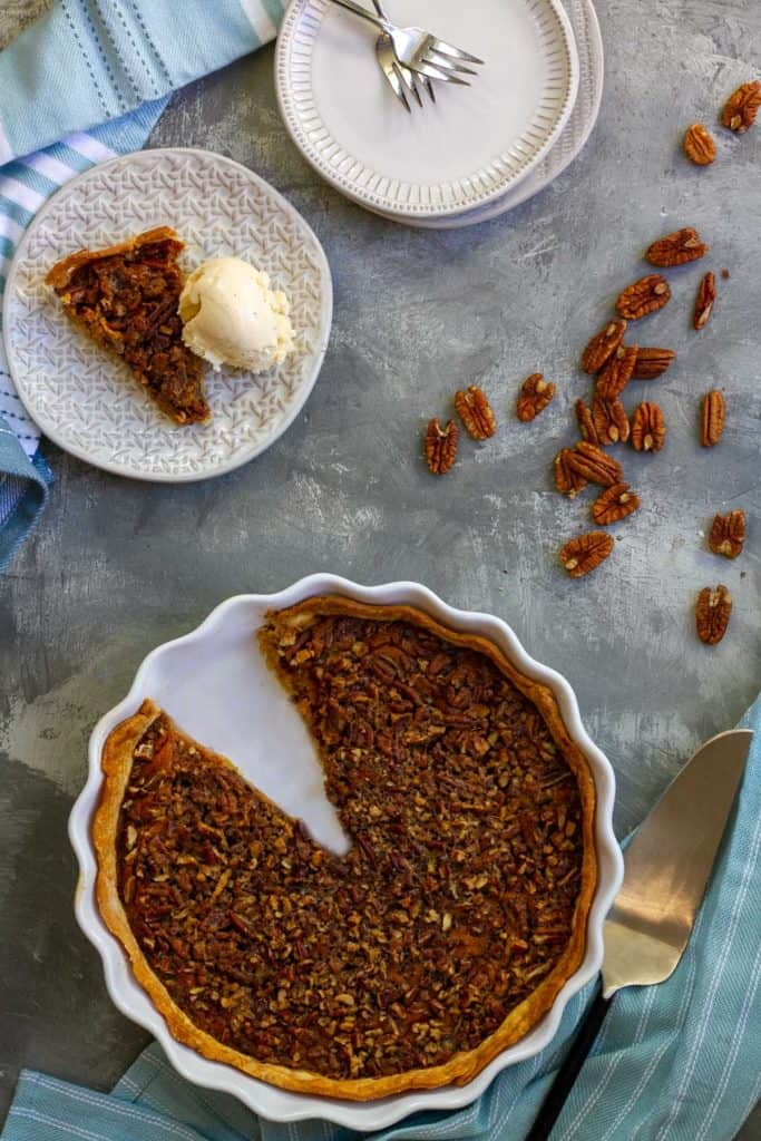 Pumpkin Pecan Pie on a serving plate