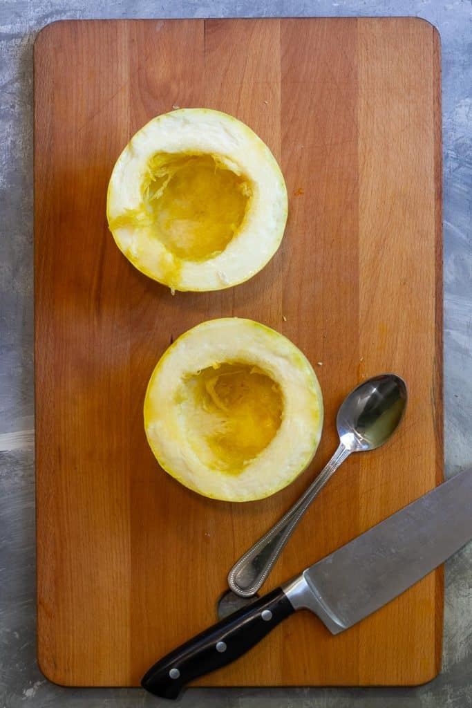 Cut Spaghetti Squash in Half + Scoop Out Seeds