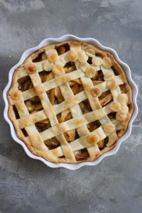 Bake vegan apple pie until golden