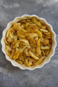 Add cooked apples to pie