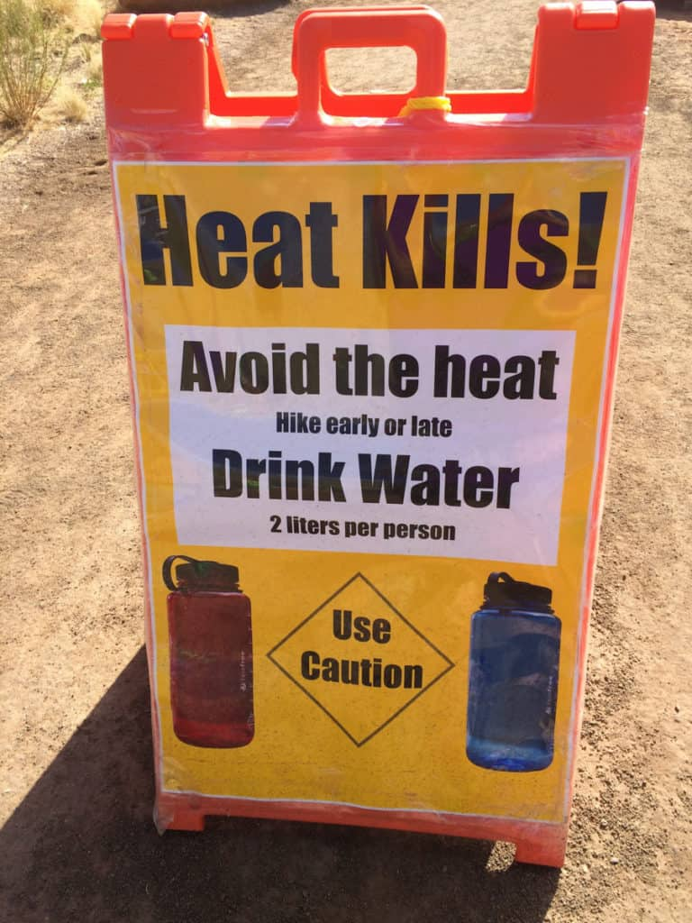 Heat Kills Warning Sign at Delicate Arch