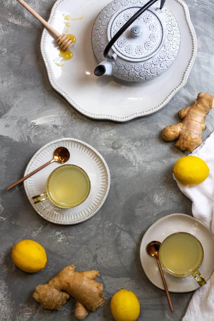 homemade ginger root tea in tea cups