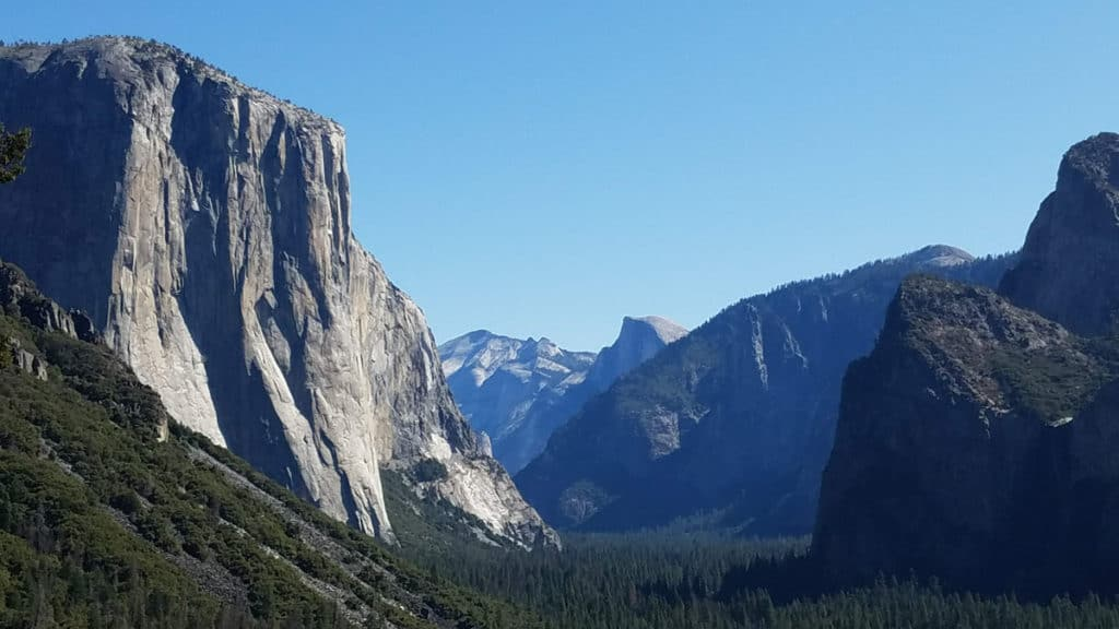 View of Half Dome while Hiking