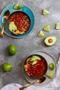 Vegan tortilla soup in bowls