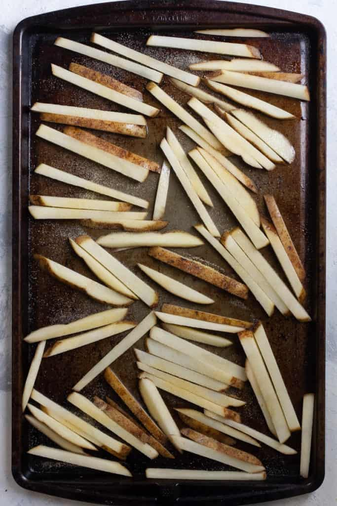 Place fries in a single layer on a baking sheet