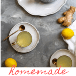 Love ginger tea? It's easy to make from scratch! Try making this homemade ginger tea with fresh ginger, lemons, and honey. Drink it hot or iced!