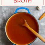 This easy and delicious homemade mushroom broth is made with roasted mushrooms and vegetables, and is easy to make ahead and freeze for later!