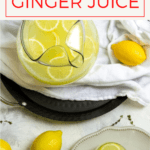 Make ginger juice at home with fresh ginger and lemon juice! This delicious twist on ginger lemonade is refreshing, mildly spicy, and can be made with just two ingredients!