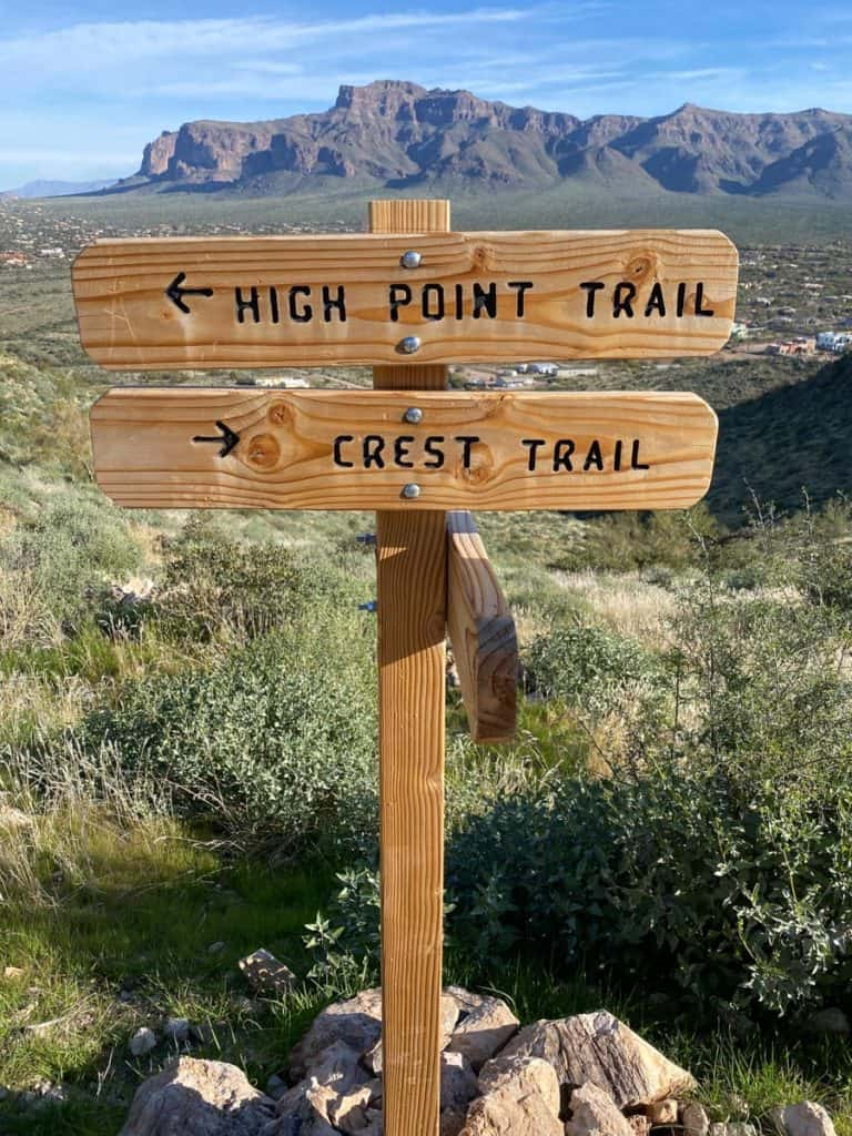 Junction of High Point + Crest Trails