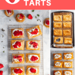 These easy strawberry tarts are the perfect spring dessert, and are made with puff pastry, mascarpone whipped cream, and glazed fresh strawberries.