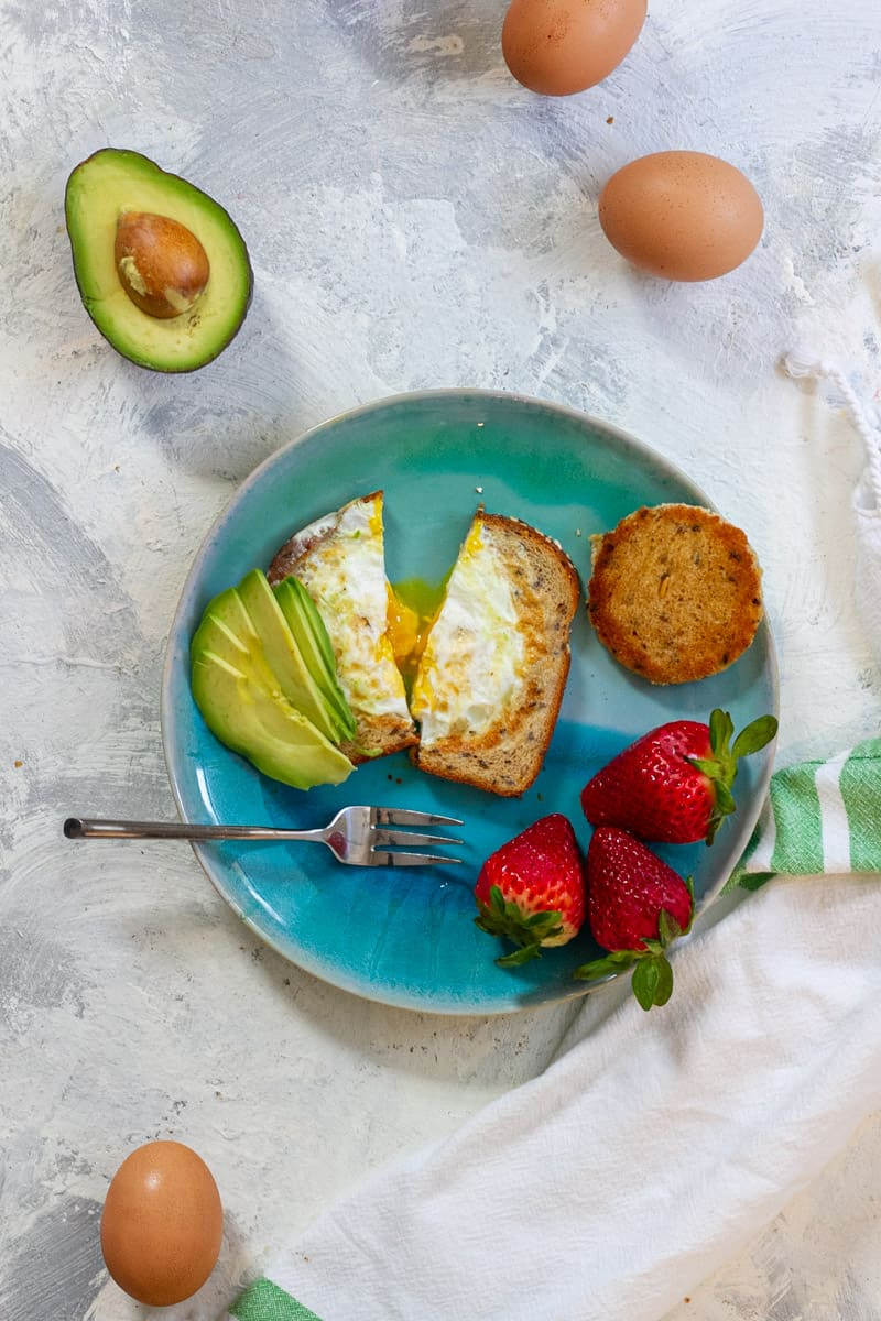 Egg in a hole with avocado