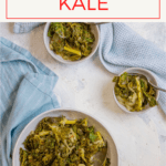 This easy, vegan Instant Pot kale is made with fresh kale, onions, and spices, and uses the slow cooker feature on your pressure cooker. (Traditional slow cooker directions included!)