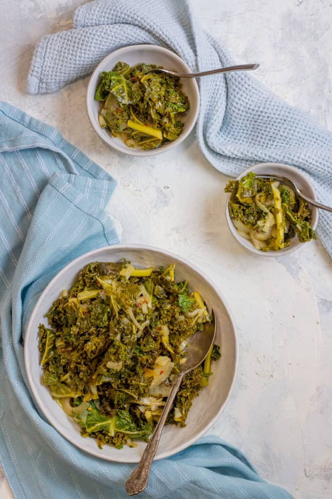 Instant pot kale in a serving dish