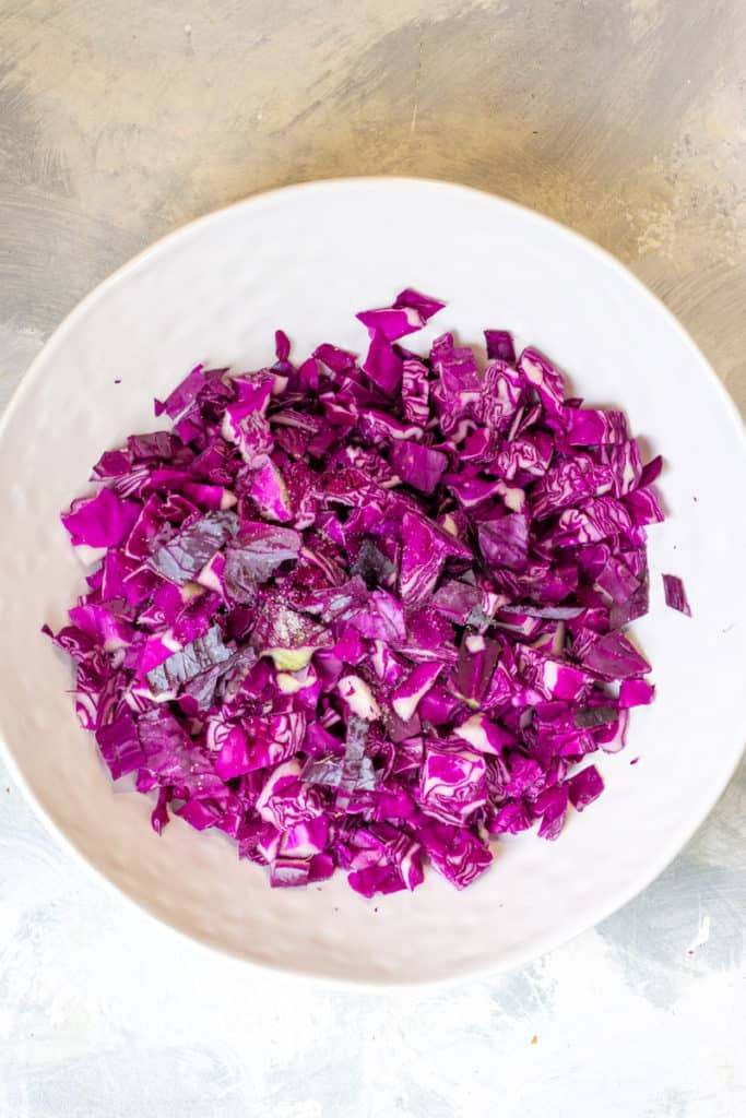Add Chopped Cabbage + Salt to a Large Bowl