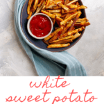 If you love sweet potatoes, try these white sweet potato fries! These oven fries are baked until crispy and tossed with cinnamon and cayenne.