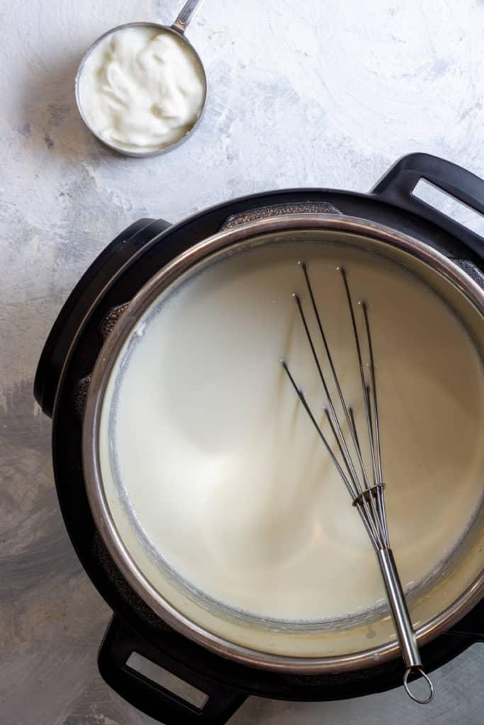 Let Milk Cool + Whisk in Yogurt