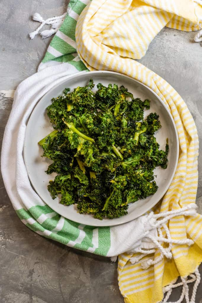 Baked Kale Chips in a Serving Bowl
