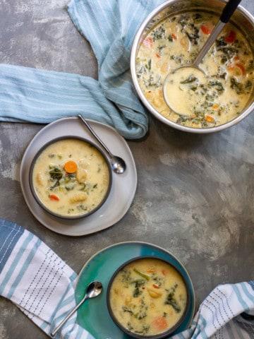 vegetable gnocchi soup in serving bowls