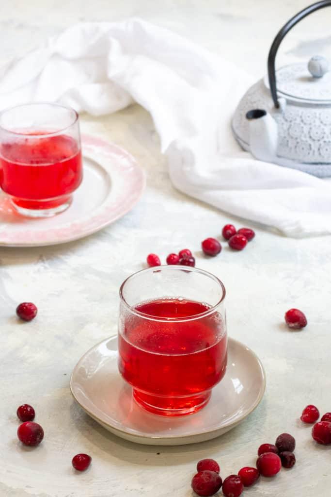 cranberry tea in teacups