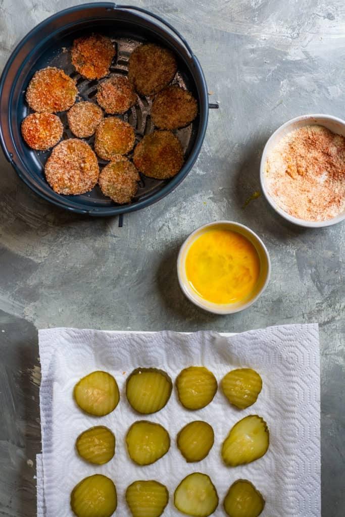 Coat Pickles in Egg + Breadcrumb Mixture