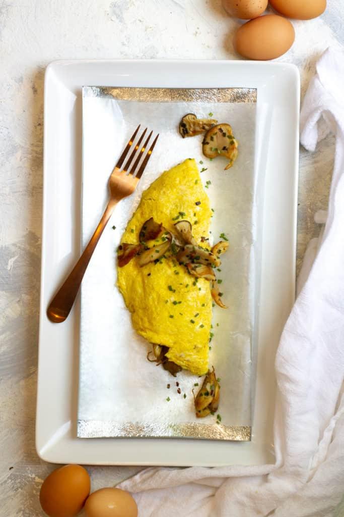 mushroom omelette on a plate