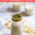 This homemade oat coconut milk is an easy, non-dairy milk made from pantry staples. It's perfect for cereal and smoothies! No high-power blender required.