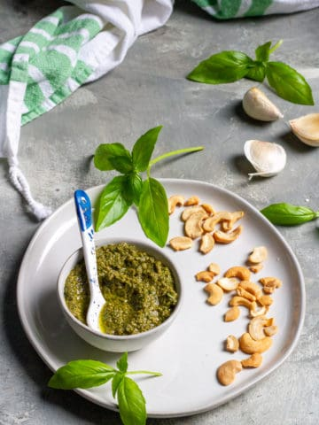 Dairy-Free Basil Pesto in a Bowl