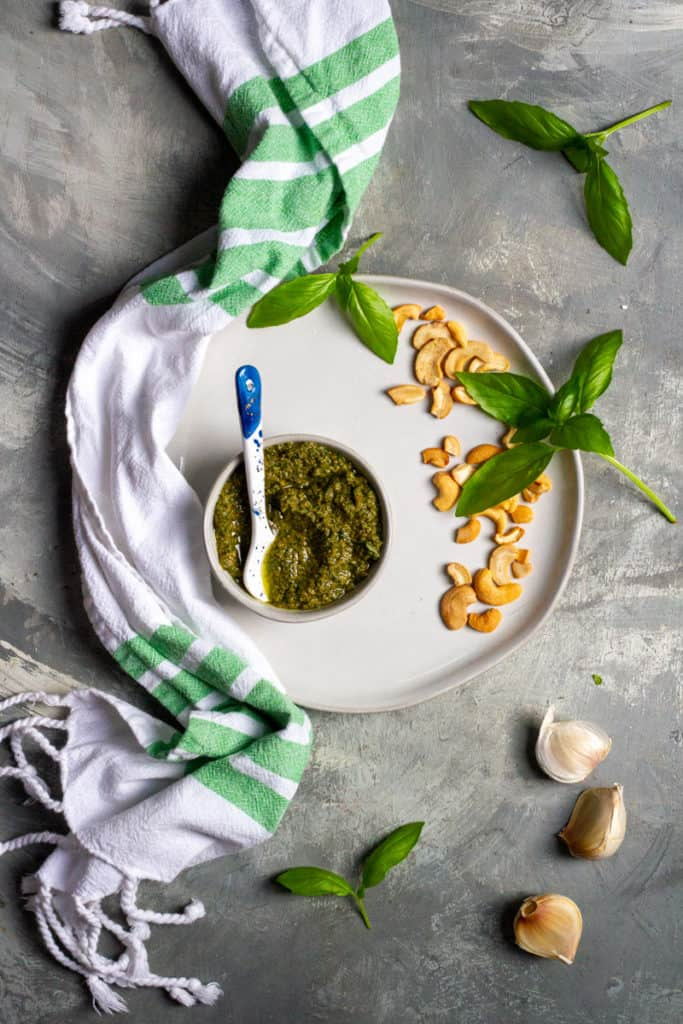Dairy-Free Basil Pesto in a Bowl