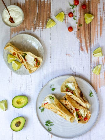 halibut tacos on a serving dish
