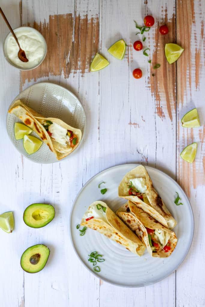 halibut tacos on a serving dish