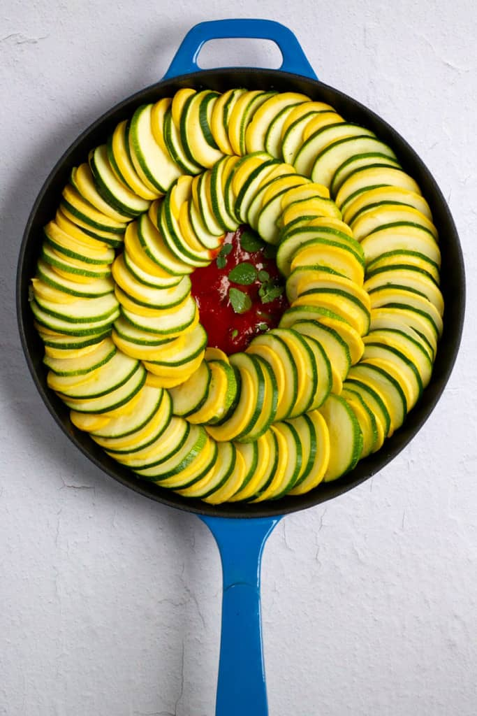 Layer Zucchini + Squash Concentrically