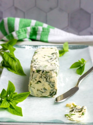 Basil Butter on a Serving Tray